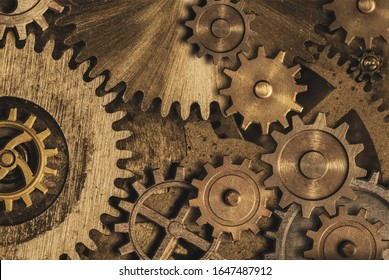 Old gears and cogs clock mechanism. Mixed media. 3d illustration.