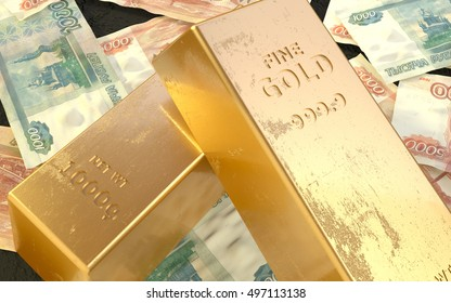 Old Gold Bars On Russian Money Background With 5000 And 1000 Rubles Banknotes 3D Render