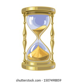 Old gold hourglass. Time concept. Cartoon hand drawn illustration.