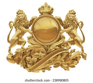 Old golden coat of arms with lions isolate