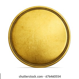 old golden coin isolated on a white. 3d illustration, 3d render
