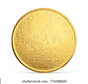 old golden coin isolated on a white backgrond. 3d illustration