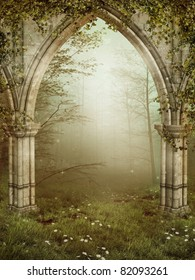 Old gothic ruins with ivy