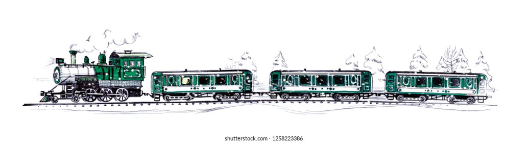 An old green steam train and three cars under falling snow in a snowy forest. Drawing a ballpoint pen and felt-tip pen