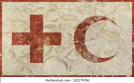 Old grunge dirty background with vintage faded shabby distressed flag of international non-governmental humanitarian Red Cross and Red Crescent Movement organization
