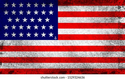Old grunge flag (1861-1864) of the United States of America, often referred to as the American flag or U.S. flag