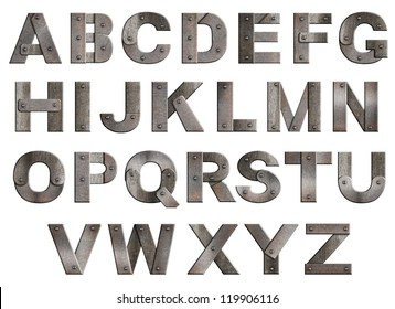 Old grunge metal alphabet letters isolated on white.