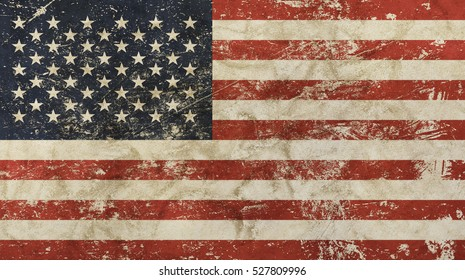Old grunge vintage dirty faded shabby distressed American US national flag background