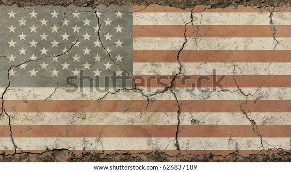 Old grunge vintage dirty faded shabby distressed American US national flag background on broken concrete wall with cracks