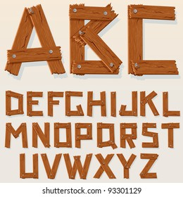 Old Grunge Wooden Alphabet, set with all Letters, ready for your Text Message, Title or Logos Design