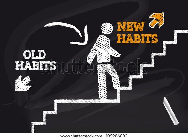 antiguos hábitos nuevos - Pizarra con texto e icono