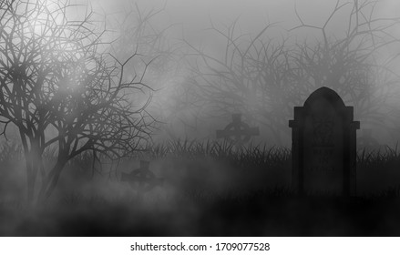 Old horror cemetery in the dark with vintage headstone on graveyard illustraion graphic design background.