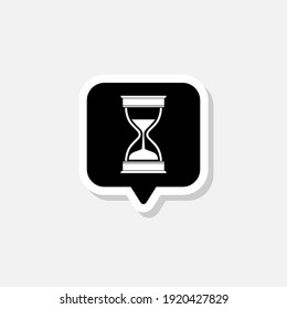 Old hourglass with flowing sand icon isolated on white background