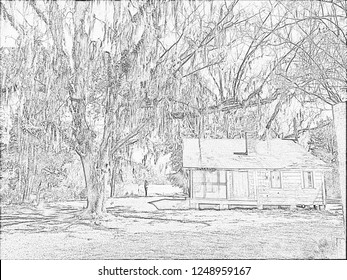 Old House Cahawba Alabama Pencil Sketch