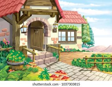 old house illustration