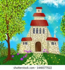Old house on edge of forest. Background. Illustration.