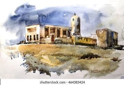 OLD HOUSE in QATAR - Illustration