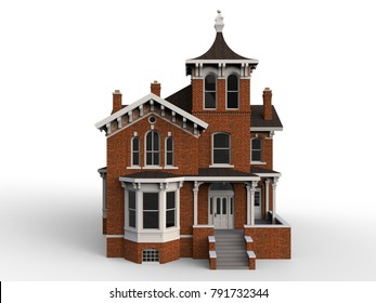 Old House In Victorian Style Illustration On White Background Species From Different Sides