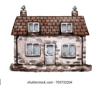 Old house. Watercolor hand painted illustration