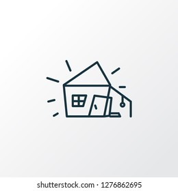 Old hut icon line symbol. Premium quality isolated house element in trendy style.