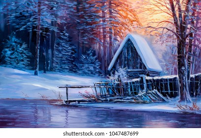 Old hut on the riverbank. In the winter forest.Painting with oil paints.