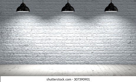 Old interior room with brick wall and wooden floor and three spotlights