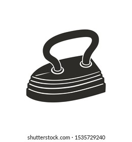 Old iron. Vintage style. Abstract concept, icon. Raster illustration on white background.