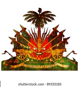 old isolated over white coat of arms of haiti