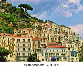 Old Italian town on a mountain. Amalfi terraces with white houses digital illustration. Positano region town view from coastline. Summer journey in southern Italy vibrant image. Travel in Europe