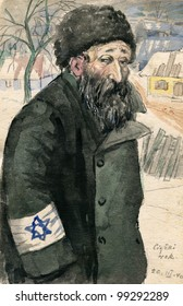 """Old Jew wearing Star of David  - nazi occupation, Poland - watercolor painting by my grandfather, Robert Andersen, in 1940. The title means """"Tough year"""""""