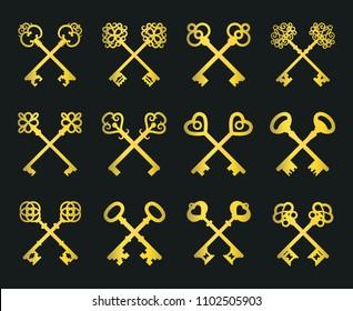 Old key set isolated on black background in golden colors. vintage gold crossed keys for safe logo or door access signs