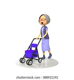 Old lady walking down the senior cart