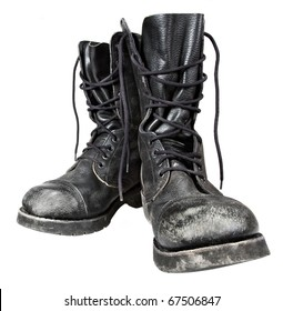 old leather military boots isolated on white background