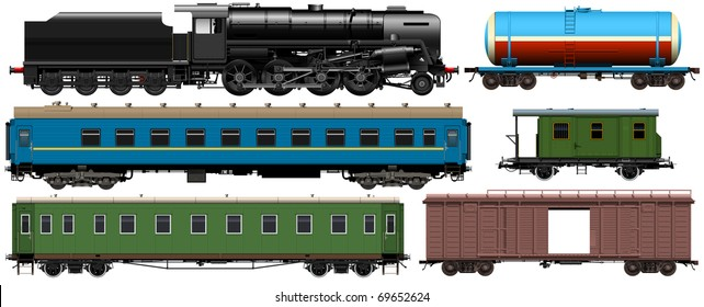 the old locomotive and different railroad cars