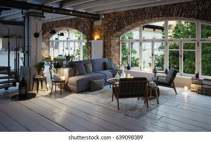 old loft apartment with arc windows downtown - 3d rendering