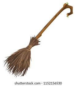 Old magic broom on which witch flies. Isolated on white cartoon illustration