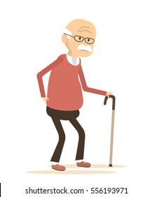 Old man with a cane.  An elderly man suffering from back pain. Backache icon.