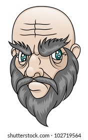 An old man with a grumpy expression. Raster.