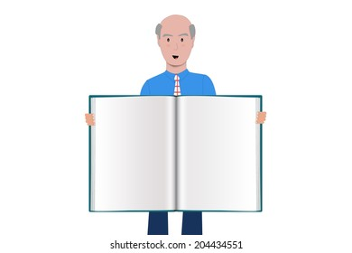 Old man holding a blank book spread on white background.