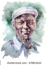 Old man portrait watercolor