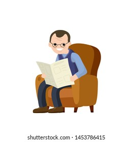 Old man sits in a brown chair and reads newspaper. Lifestyle of senior. Furniture - armchair. Cartoon flat illustration. rest and relax of grandfather with news