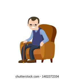 Old man is sitting in soft armchair. Rest and senior with a cane. Brown furniture and room element. Cartoon flat illustration. Cute Grandfather