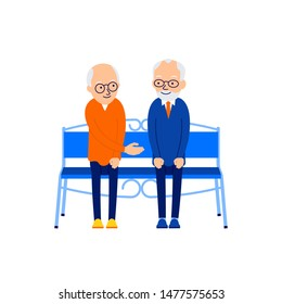 Old man sitting. Two elderly people are sitting on bench. An elderly man extends his hand to another for a greeting. Old friendships. Illustration isolated on white background in flat.