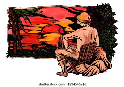 an old man in a tropical helmet admires the sunset sitting on the beach.
