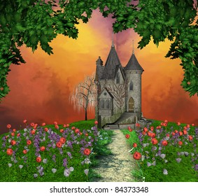 Old mansion over an hill in bloom