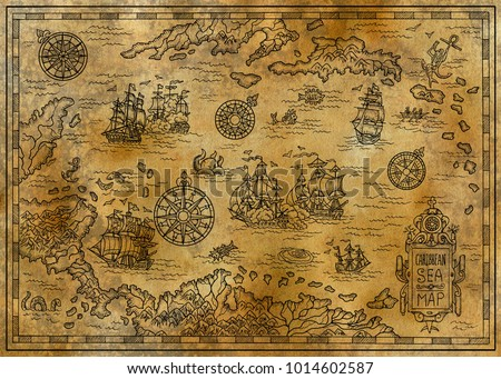 Old Map Caribbean Sea Decorative Fantasy Stockillustration ...