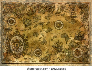 Old map of pirate treasures, old ships, compasses and islands. Decorative antique background with nautical chart, adventure treasures hunt concept, watercolor hand drawn illustration