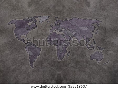 Old Map Whole World Black Gray Stock Illustration 358319537 ...