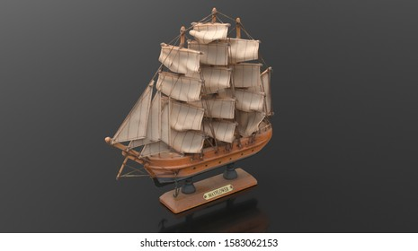old mayflower ship wood brown toy model, 3d render