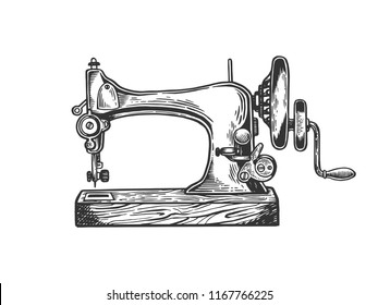 Old mechanic sewing machine engraving raster illustration. Scratch board style imitation. Black and white hand drawn image.